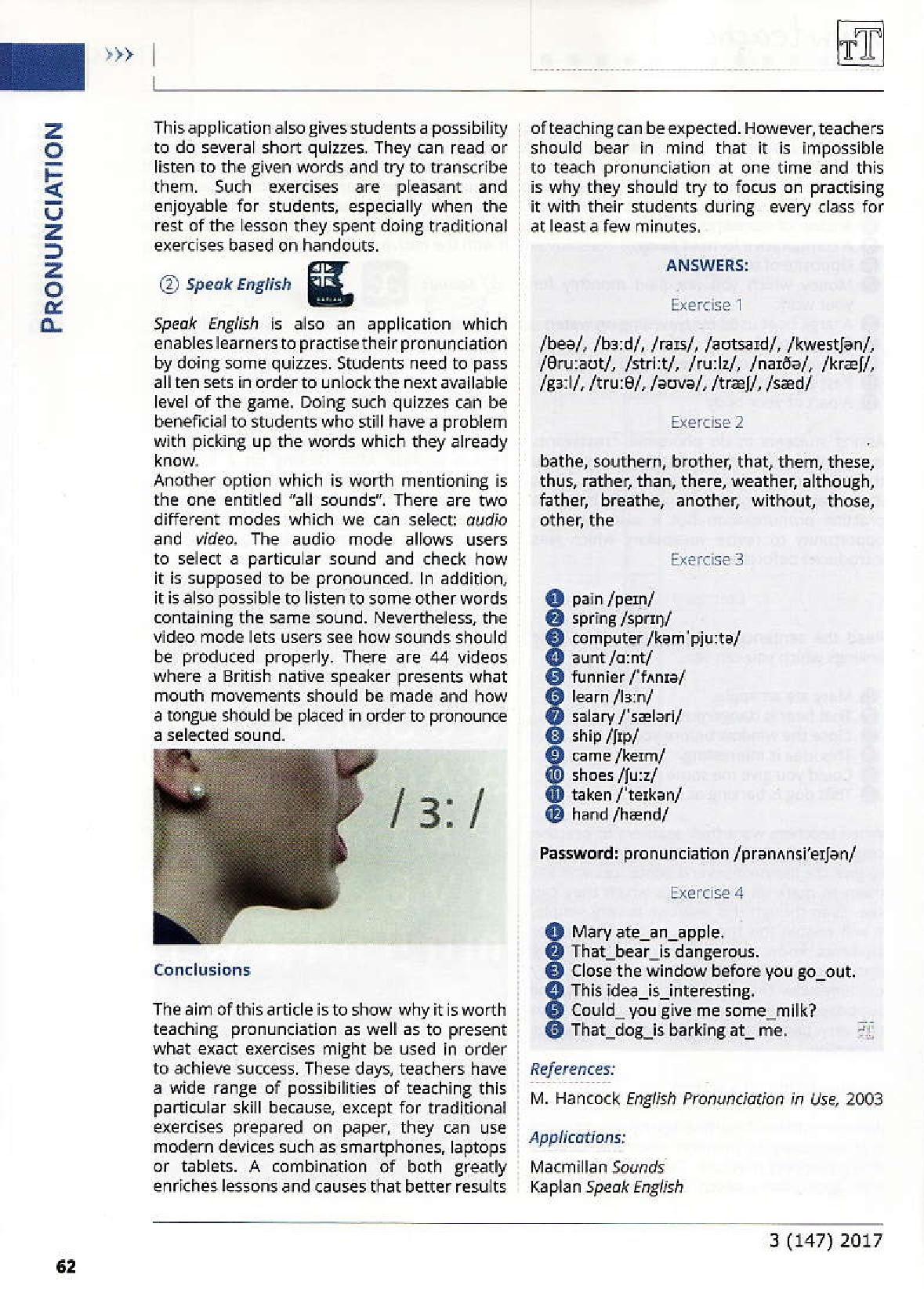 Article: Pronunciation - paper and screen